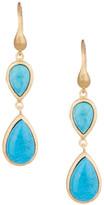 Rivka Friedman 18K Gold Clad Inverted Double Teardrop Magnesite Dangle Earrings