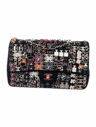 Chanel Enamel Jeweled Tweed Flap Bag Black