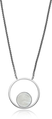 Skagen Agnethe Silver Tone and Mother of Pearl Round Pendant Necklace