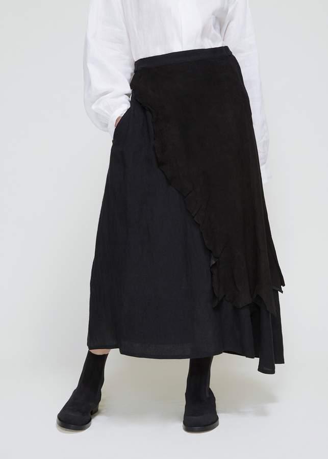Yohji Yamamoto Asymetrical Leather Skirt With Leather Patch