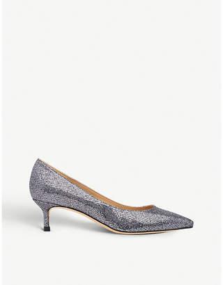 LK Bennett Audrey lurex and leather kitten heel courts
