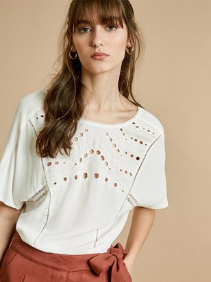 Suncoo Lena Cutwork Top In White - 10