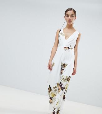 Hope & Ivy Petite floral wide leg jumpsuit-Multi