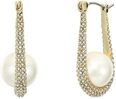 Vince Camuto Small Pave Hoop Earrings (Gold/Crystal/Ivory Pearl) Earring