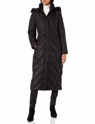 Larry Levine Women's Chevron Stitched Maxi Puffer W/Detachable Faux-Fur Trimmed Hood