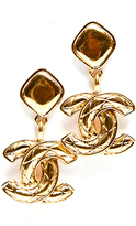 Chanel Gold Large Drop CC Vintage Clip On Earrings