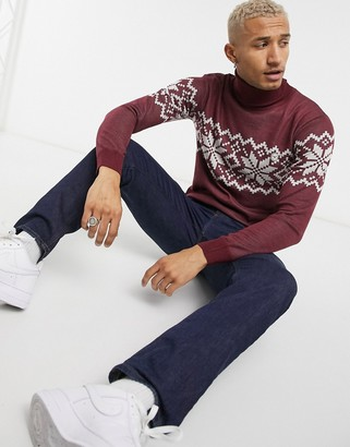 Le Breve roll neck Christmas sweater in burgundy