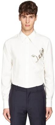 Alexander McQueen Silk Poplin Shirt W/Metallic Embroidery