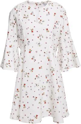 Carven Fluted Floral-print Crepe De Chine Mini Dress