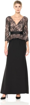 JS Collections Women's V Neck Lace Peplum Gown
