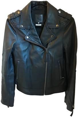Karl Lagerfeld Paris Marc John Black Leather Leather Jacket for Women