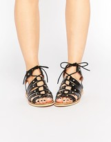 London Rebel Gladiator Leather Flat Sandals