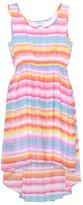 Bonnie Jean Big Girls Pink Striped Sleeveless Hi-Lo Plus Size Dress 14.5