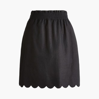J.Crew Scalloped linen-cotton skirt