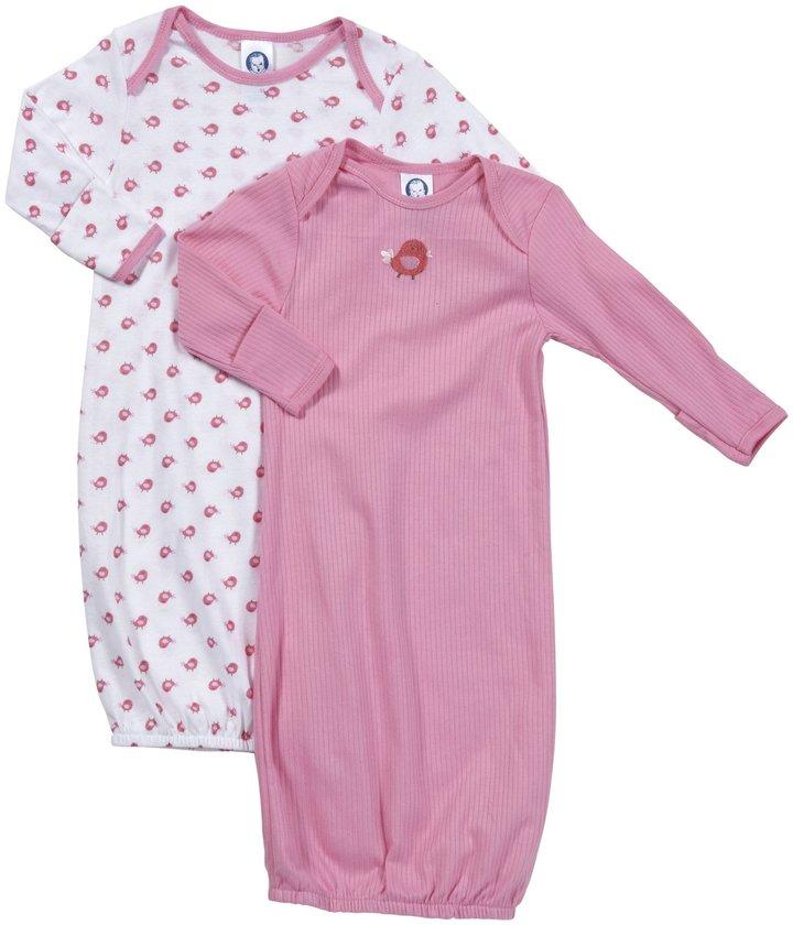 Gerber 2 Pack Lap Shoulder Gown (Baby) - Pink-0-6 Months