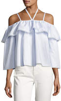 Jonathan Simkhai Cold-Shoulder Flare Oxford Top, Blue