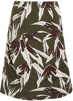 Marni Ruched Printed Cotton And Linen-blend Skirt - Green