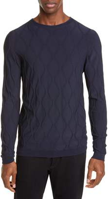Giorgio Armani Embossed Argyle Crewneck Sweater