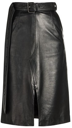Marni Leather A-Line Front Slit Skirt