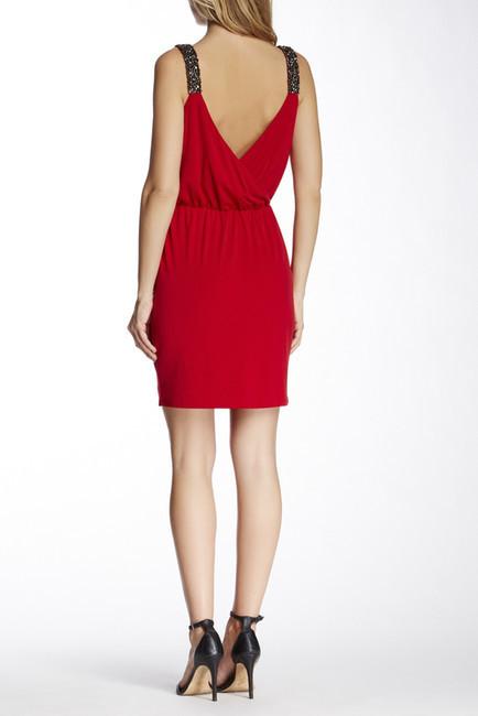 Jessica Simpson JS4A6776 Beaded Shoulder Jersey Cocktail Dress