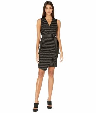 BCBGMAXAZRIA Women's Pinstripe Crossover Dress