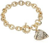 "GUESS Basic"" Gold Graffiti Logo Heart Toggle Charm Bracelet"