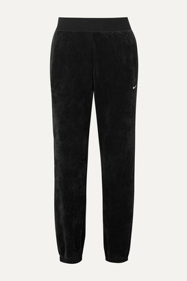 Nike Embroidered Ribbed Stretch-velour Tapered Track Pants - Black