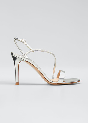 Gianvito Rossi Shimmery Studded Metallic Asymmetric Sandals