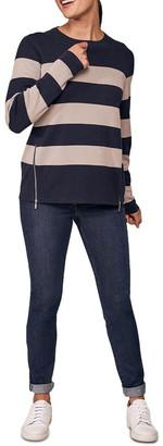 Blue Illusion Zip Detail Stripe Knit