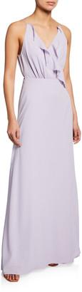 WAYF The Emma Ruffle-Neck Sleeveless Wrap Gown