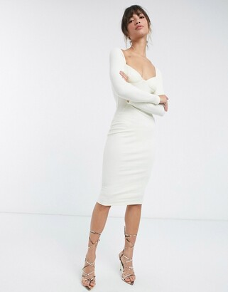 ASOS DESIGN off shoulder rib panelled long sleeve midi dress in white