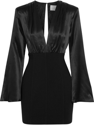 Cinq à Sept Sandy Gathered Silk-satin And Crepe Mini Dress