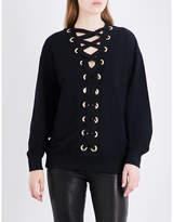 Balmain Ladies Iconic Lace-Up Cotton-Jersey Sweatshirt