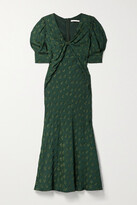 Thumbnail for your product : Jason Wu Collection Twist-front Fil Coupe Cady Midi Dress - Dark green