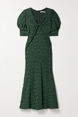 Jason Wu Collection Twist-front Fil Coupe Cady Midi Dress - Dark green