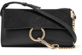 Chloé Faye Mini Leather And Suede Shoulder Bag - Black
