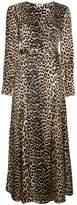 Ganni Dufort Silk Leopard Print Wrap Dress