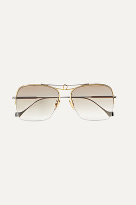 Loewe Aviator-style Silver And Gold-tone Sunglasses