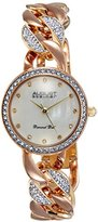August Steiner Women's AS8190TRI Rose and Yellow Gold Crystal Accented Quartz Watch with Pink Mother of Pearl Dial and Rose and Yellow Gold Bracelet