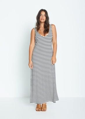 MANGO Violeta BY Flowy long dress dark navy - 10 - Plus sizes