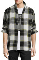 Public School Flannel Plaid Back-Patch Shirt, Black/White/Yellow