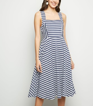 New Look Mela Stripe Square Neck Midi Dress