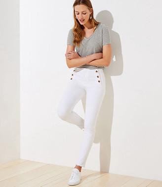 LOFT Petite Sailor High Waist Skinny Crop Jeans in White
