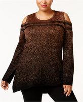 Belldini Plus Size Cold-Shoulder Metallic Sweater