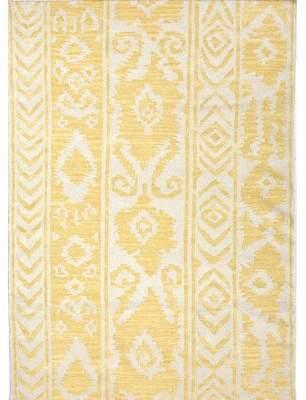"Bungalow Rose Terrence Ikat Handmade Flatweave Wool Yellow Area Rug Rug Size: Rectangle 3'6"" x 5'6"""