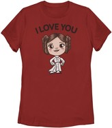 Star Wars Licensed Character Juniors' Princess Leia I Love You Chibi Portrait Tee