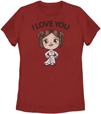 Licensed Character Juniors' Star Wars Princess Leia I Love You Chibi Portrait Tee