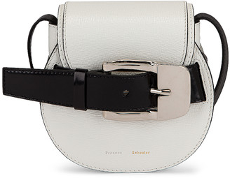 Proenza Schouler Mini Leather Buckle Crossbody Bag in Optical White | FWRD