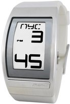 Phosphor Men's WC02 World Time Curved E-INK White Polyurethane Strap Watch