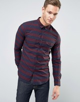 Sisley Pocket Shirt With Stripe And Fleck Detail In Regular Fit